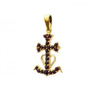 e473ad3d2e2b Pendentif croix de Camargue grenats Fanny