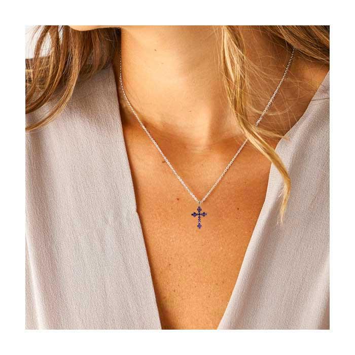 Pendentif croix en zircon améthyste Chaîne